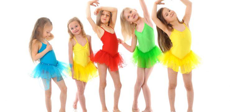 Group of little funny ballet dancers