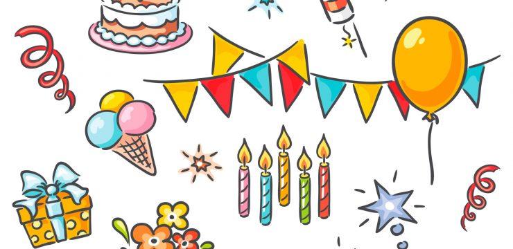 Cartoon birthday set